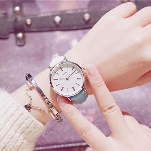 PINkart-USA Online Shopping white blue Fashion Casual Wild Watches Women Simple Scale Ladies Wristwatches Classic Quartz Leather Female