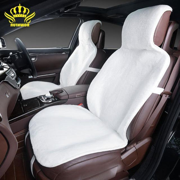 PinKart-USA Online Shopping White / China For 2 Front Car Seat Covers Faux Fur Cute Car Interior Accessories Cushion Cover Styling