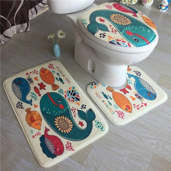 PINkart-USA Online Shopping White High Grade Carpet Flannel Three Pieces Of Toilet Cover Bathroom Non-Slip Mat Soft Household