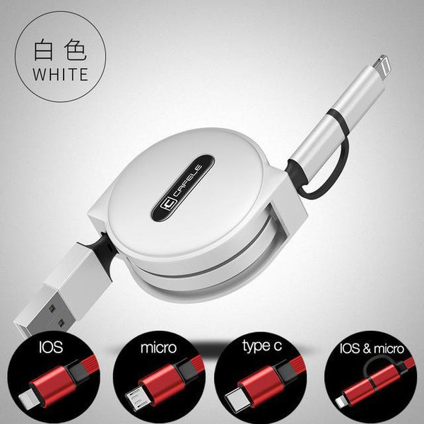 PinKart-USA Online Shopping white / IOS micro 2 in 1 4 Style 100Cm Retractable USB Fast Charging Cable For Iphone X 8 7 5S 6S Plus Micro Type-C