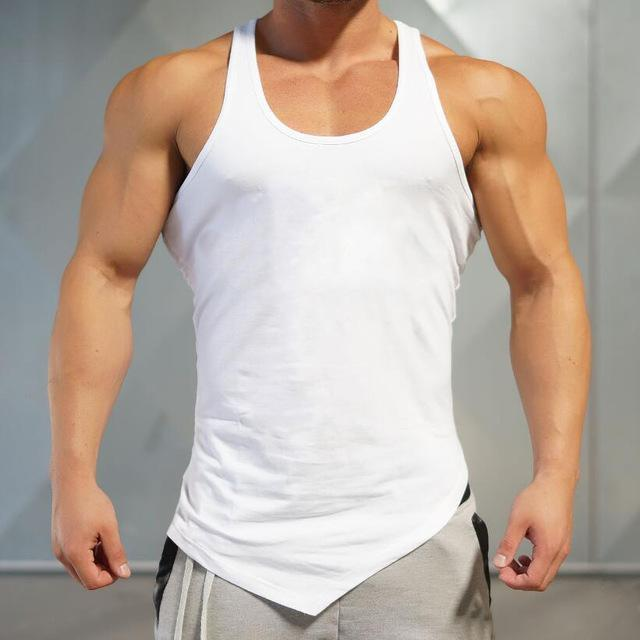 PINkart-USA Online Shopping White / L Brand Blank Clothing Solid Vest Men Bodybuilding And Fitness Men Undershirt Gyms Stringer Tank Top