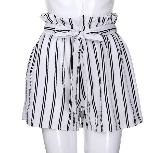 PINkart-USA Online Shopping White / L / China New Arrival Summer Women Polyester Retro Stripe Casual Fit Elastic Waist Pocket Shorts With String