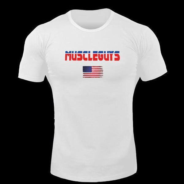 PINkart-USA Online Shopping White / L Muscle Guys Brand T Shirt Mens Cotton Fitness Crossfit T Shirt American Gyms T-Shirt Bodybuilding