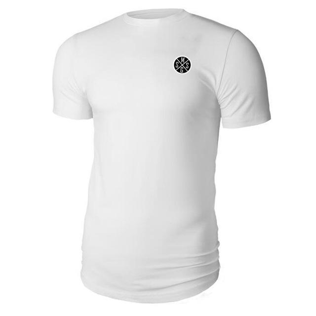 PINkart-USA Online Shopping white / L Muscle Guys New Fashion Men Clothes Short Sleeve Shirt Slim Fit T Shirt Men Cotton T-Shirt Casual