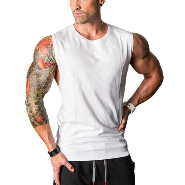 PINkart-USA Online Shopping White / L Muscle Guys Sleeveless Shirt Bodybuilding Clothing And Fitness Men Undershirt Solid Tank Tops Blank