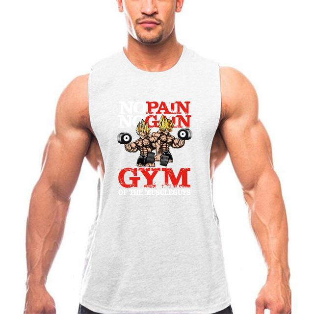 PINkart-USA Online Shopping White / L New Brand Clothing Bodybuilding Fitness Men Gyms Tank Top Golds Vest No Pain No Gain Cotton