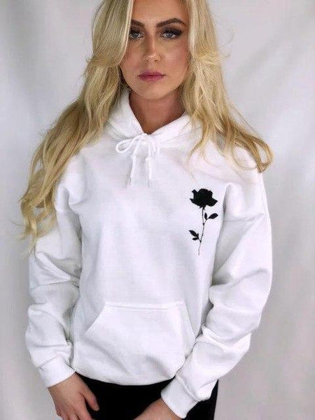 Rose Printed Womens Thick Pocket White Hoodie Workout Sweatshirts Rose Floral Winter Wram Tumblr