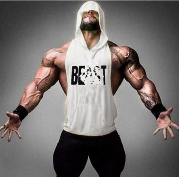 PINkart-USA Online Shopping White / M Gyms Clothing Bodybuilding Stringer Hoodie Tank Top Muscle Shirt Fitness Men Hooded Undershirt