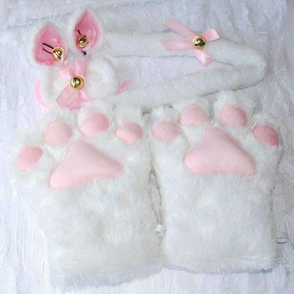 PinKart-USA Online Shopping White / One Size 1 Set Anime Cosplay Costume Gloves Sweet Cat Ears Plush Paw Claw Gloves Tail Bow-Tie Halloween