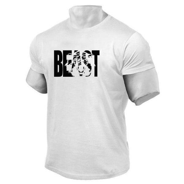 PINkart-USA Online Shopping White / XL Brand Clothing Fitness Beast Printed T Shirt Men Cotton O-Neck T-Shirt Muscle Bodybuilding Tee