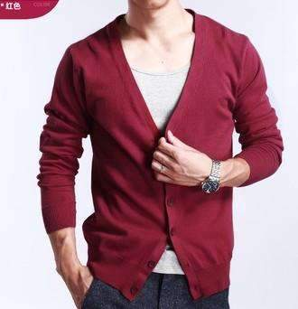 PinKart-USA Online Shopping wine red / M Spring And Autumn Multi-Colored V-Neck Solid Color Sweater Outerwear Male Cashmere Cardigan