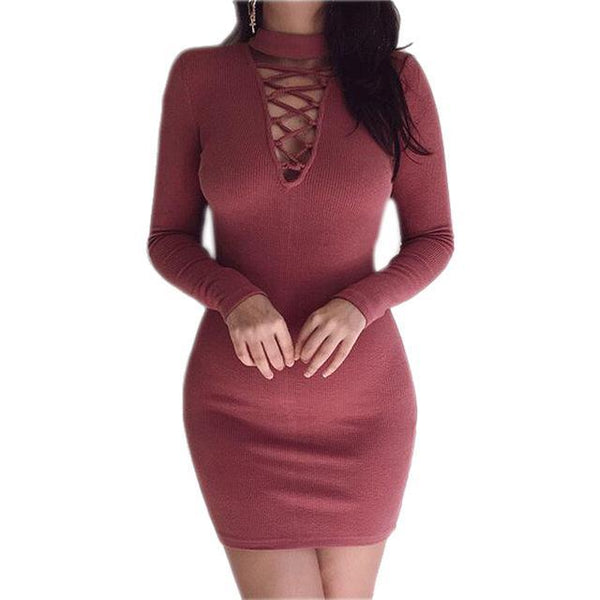 PINkart-USA Online Shopping Wine Red / S Autumn Winter Women Mini Dresses Stretch Zipper Bodycon Dress Long Sleeve V-Neck Knit Dress Party