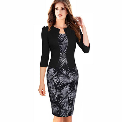 PINkart-USA Online Shopping Women Autumn Elegant One-Piece Formal Business Floral Printed Dress Vintage Plus Size Lady Work