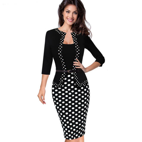 PINkart-USA Online Shopping Women Autumn Faux Jacket One-Piece 1950S Retro Polka Dot Contrast Patchwork Wear To Work Office
