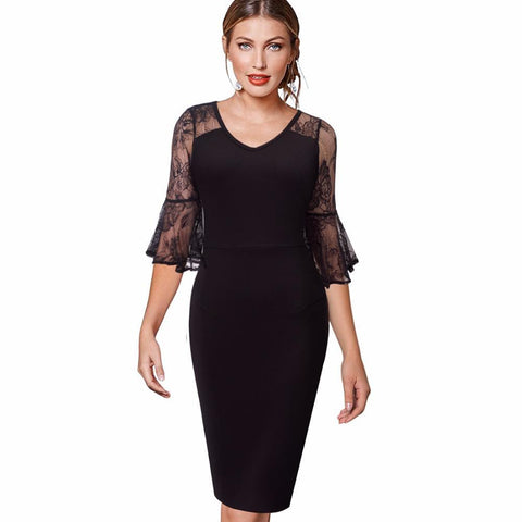 PINkart-USA Online Shopping Women Best Quality V-Neck Black Vintage Lace Half Flare Sleeves Vestidos Casual Party Business