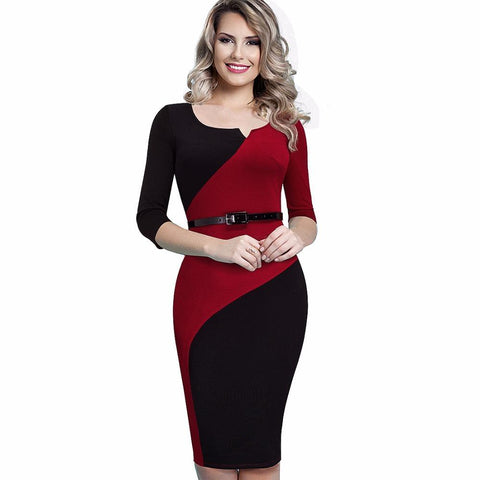 PINkart-USA Online Shopping Women Casual Elegant Work Business Office Belted Colorblock Contrasting Fitted Bodycon Pencil Dress