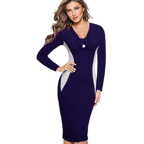 PINkart-USA Online Shopping Women Casual Wear To Work Business Elegant Colorblock Contrast Bodycon Pencil Dress Eb349