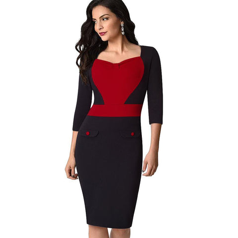 PINkart-USA Online Shopping Women Casual Wear To Work Office Business Pencil Dress Elegant Contract Colorblock Sheath Bodycon
