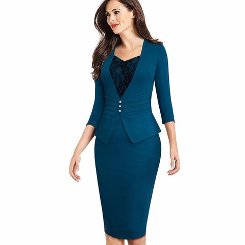 PINkart-USA Online Shopping Women Elegant Formal Work Business Office Chic Buttons Peplum Fitted Sheath Bodycon Pencil Dress