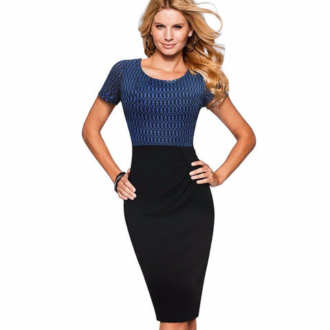 PINkart-USA Online Shopping Women Elegant Sheath Fitted Work Office Business Summer Dress Casual Short Sleeve Pencil Bodycon
