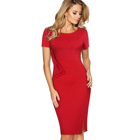 PINkart-USA Online Shopping Women Elegant Slim Work Office Business Bow Solid Bodycon Split Pencil Dress Casual Short Sleeve