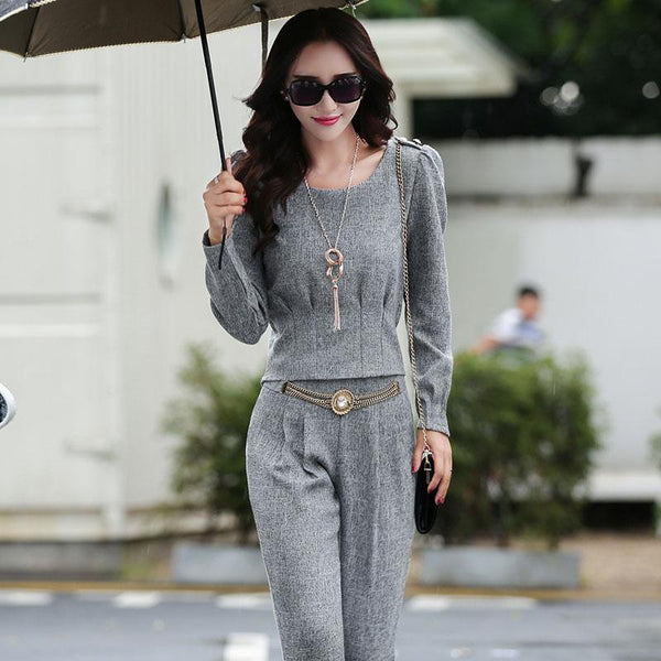 PINkart-USA Online Shopping Women'S New Spring And Autumn Fashion Casual Trousers Set Female Large Long-Sleeved