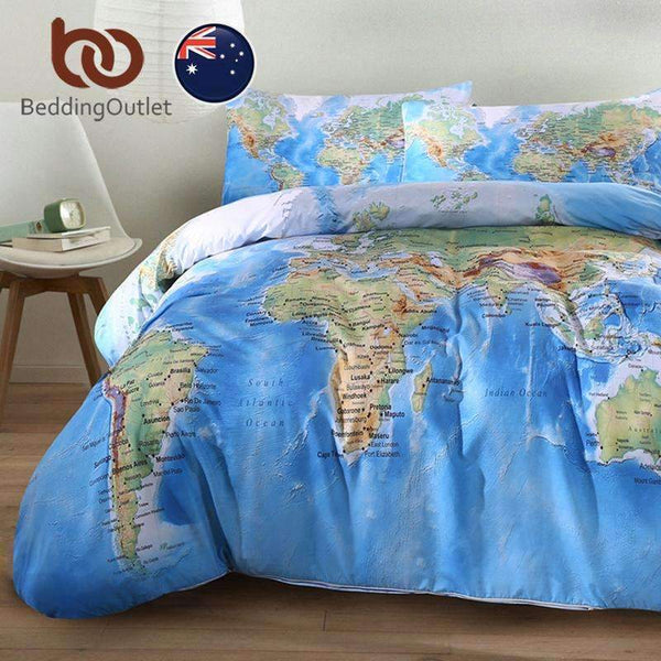PinKart-USA Online Shopping World Map Bedding Set Vivid Printed Blue Bed Duvet Cover With Pillow Covers Soft