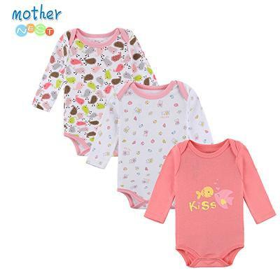 PINkart-USA Online Shopping XTCP16305P / 3M Retail 3 Pieces/Lot Cartoon Style Baby Girl Boy Winter Clothes Born Body Baby Ropa Baby Bodysuit