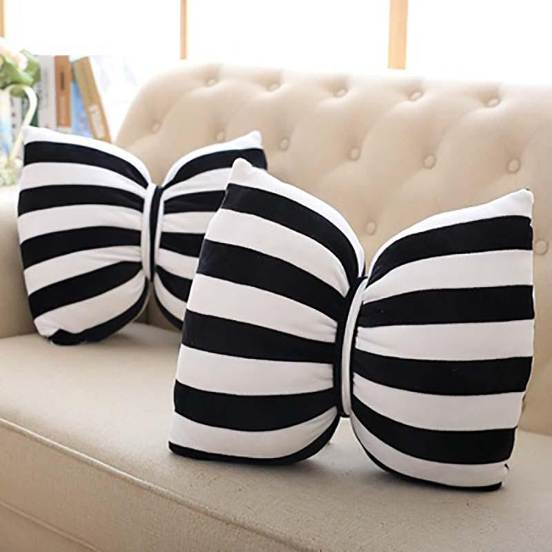 PINkart-USA Online Shopping Year New Style Toys Kids Bowknot Bow Pillows Black And White Striped Pillow Decorative Soft Pillow