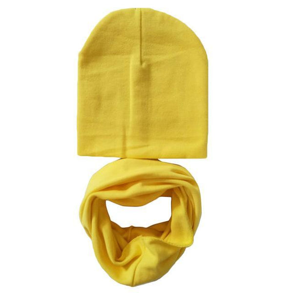 1 Set Cotton Baby Hat Scarf Solid Color Children Caps Scarves Autumn Winter Kids Boys Girls O Ring