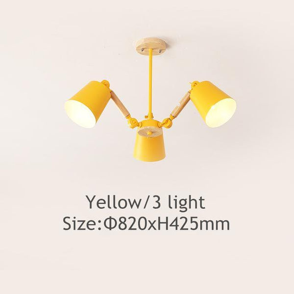 PINkart-USA Online Shopping Yellow 3 light Lustre Led Chandelier For Living Room Hanging Lights Lustres Para Sala De Jantar Lampshade Wood