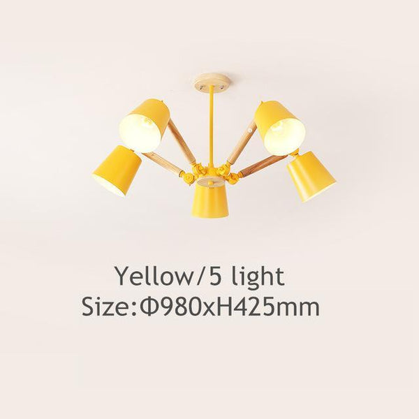 PINkart-USA Online Shopping Yellow 5 light Lustre Led Chandelier For Living Room Hanging Lights Lustres Para Sala De Jantar Lampshade Wood