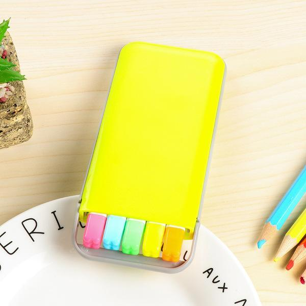 PINkart-USA Online Shopping Yellow case 5 Colors/Box Candy Color Highlighter Pen Set Mini Fluo Markers Stationery Office School Supplies