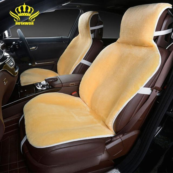 PinKart-USA Online Shopping Yellow / China For 2 Front Car Seat Covers Faux Fur Cute Car Interior Accessories Cushion Cover Styling