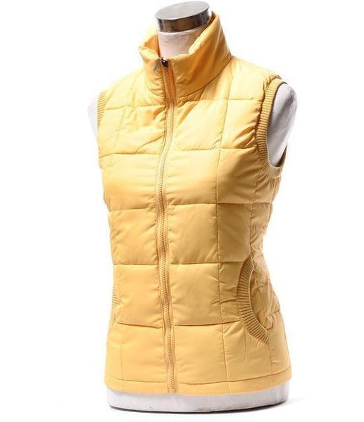 PINkart-USA Online Shopping yellow / L Autumn Winter Women Cotton V Collar Warm Down Coat Women Warm Cotton Jacket Designer Sleeveless