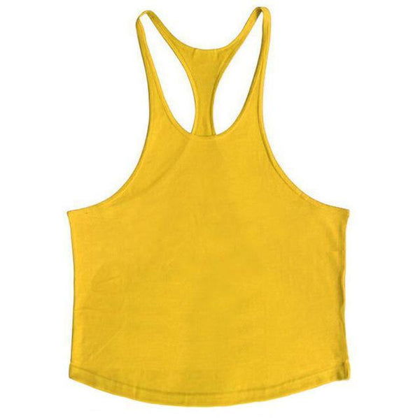 PINkart-USA Online Shopping Yellow / L Brand Solid Clothing Bodybuilding Tank Top Mens Sleeveless Shirts Fitness Men Singlets Blank