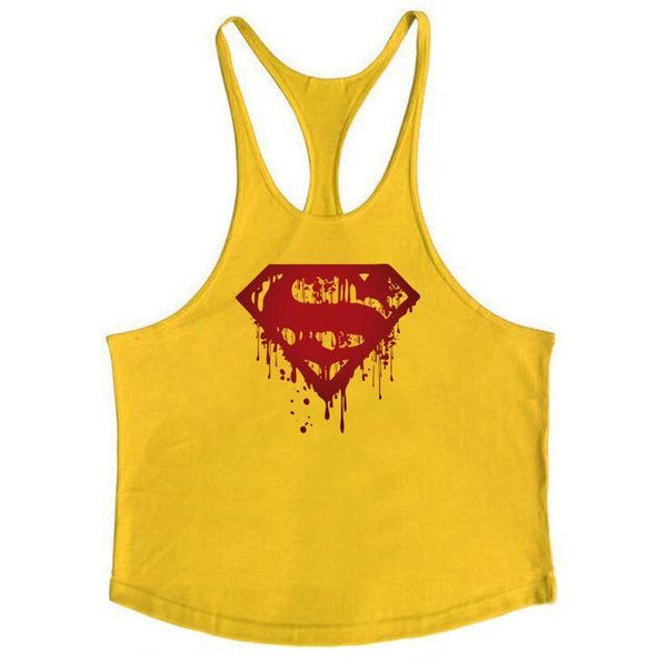 PINkart-USA Online Shopping Yellow / L Fitness Bloody Superman Cotton Mens Tank Tops Bodybuilding Stringer 1Cm Shoulder Strap Gyms Vest