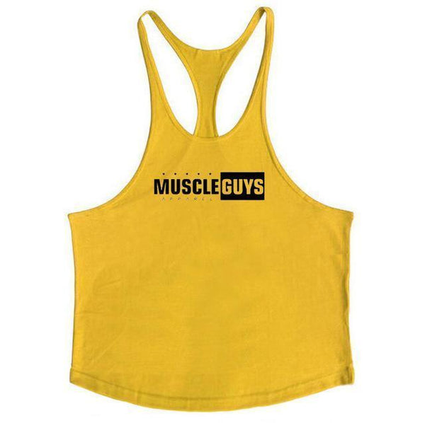 PINkart-USA Online Shopping Yellow / L Muscle Guys Apparel Bodybuilding Clothing Tank Tops Fitness Tank Mens Gyms Vest Cotton Sleeveless
