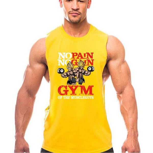 PINkart-USA Online Shopping Yellow / L New Brand Clothing Bodybuilding Fitness Men Gyms Tank Top Golds Vest No Pain No Gain Cotton