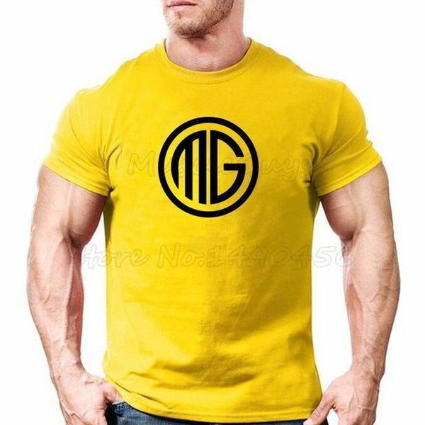 PINkart-USA Online Shopping Yellow / S Muscle Guys Brand Clothing Fitness T Shirt Men Cotton O-Neck T-Shirt Muscle Bodybuilding Tees