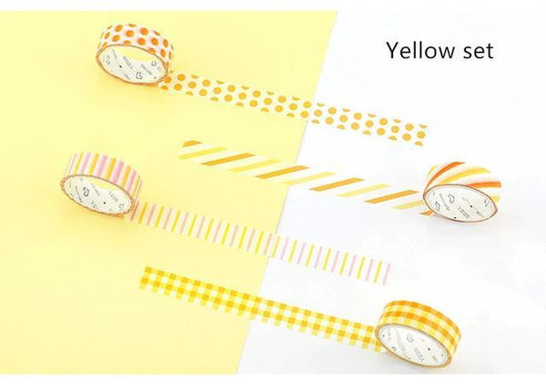 PINkart-USA Online Shopping Yellow set 4 Pcs Basic Rainbow Paper Washi Tape Set 15Mm*7M Color Decoration Tape Masking Stickers