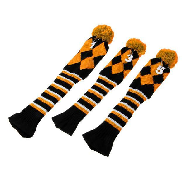 PINkart-USA Online Shopping Yellow Set Of 3 Vintage Golf Knitted Pom Pom Sock Covers 1-3-5 Golf Headcover For Dirver/Fairway Wood Long