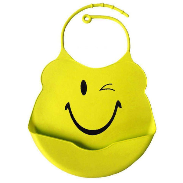 PinKart-USA Online Shopping yellow smile / One Size Design Baby Bibs Waterproof Silicone Feeding Baby Salivatowel Wholesale Born Cartoon