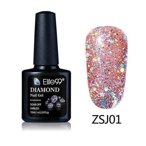 PinKart-USA Online Shopping ZSJ01 Elite99 10Ml Diamond Nail Gel Glitter Uv Gel Polish Manicure Led Sequins Gel Nail Soak Off Gel