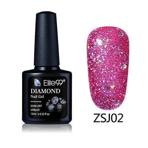 PinKart-USA Online Shopping ZSJ02 Elite99 10Ml Diamond Nail Gel Glitter Uv Gel Polish Manicure Led Sequins Gel Nail Soak Off Gel