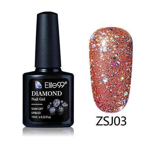 PinKart-USA Online Shopping ZSJ03 Elite99 10Ml Diamond Nail Gel Glitter Uv Gel Polish Manicure Led Sequins Gel Nail Soak Off Gel