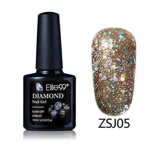 PinKart-USA Online Shopping ZSJ05 Elite99 10Ml Diamond Nail Gel Glitter Uv Gel Polish Manicure Led Sequins Gel Nail Soak Off Gel