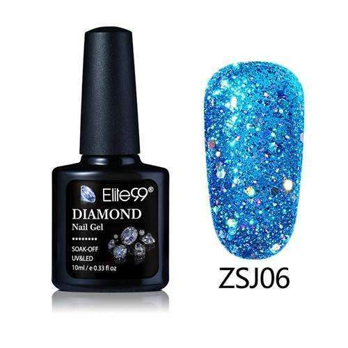 PinKart-USA Online Shopping ZSJ06 Elite99 10Ml Diamond Nail Gel Glitter Uv Gel Polish Manicure Led Sequins Gel Nail Soak Off Gel