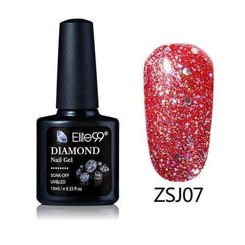 PinKart-USA Online Shopping ZSJ07 Elite99 10Ml Diamond Nail Gel Glitter Uv Gel Polish Manicure Led Sequins Gel Nail Soak Off Gel