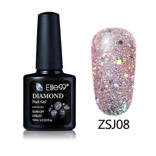PinKart-USA Online Shopping ZSJ08 Elite99 10Ml Diamond Nail Gel Glitter Uv Gel Polish Manicure Led Sequins Gel Nail Soak Off Gel